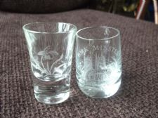 2 X COLLECTABLE ETCHED SHORT SHOT GLASSES 1 = YORK MINSTER 1= ORCHID FLOWER